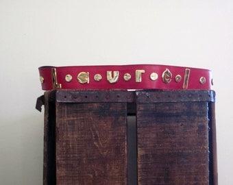 Escada / Statement Belt / Laurel / Logo / Red Gold / 80s Belt