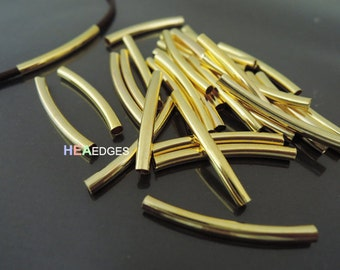 Finding - 10 pcs Gold Curve Arc Tubes 30mm x 3mm ( inside 2mm Diameter )