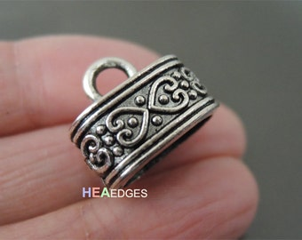 4pcs Silver End Caps 12mm x 7mm -  Findings Antique Silver Large Leather Cord Ends Cap with Loop 15mm x 9mm