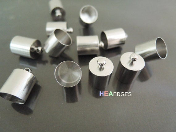 6 pcs Silver End Cap 9mm - Finding Leather Cord Ends Cap with Loop For Round Leathers 14mm x 10mm ( inside 9mm Diameter )
