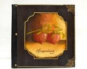 Photo scrapbook, red fruit, handmade album, kitchen fruit art, kitchen artwork, red fruit art, hand painted fruit, pomegranate art