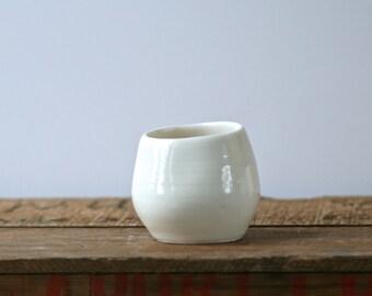 Porcelain translucent candle holder/ vase, contemporary home decor, tea light holder, bath, spa candleholder.