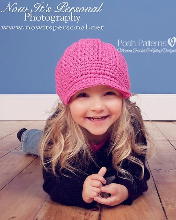 Crochet PATTERN - Crochet Visor Hat Pattern - Crochet Hat Pattern - Newsboy Beanie - Baby, Toddler, Kids, Adult Sizes - PDF 108