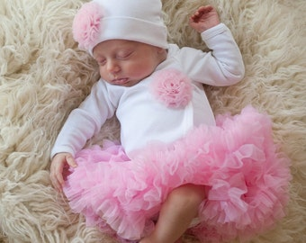 Newborn Girls Take Home Outfit White Bodysuit with Rosette Poof Hat and Pettiskirt