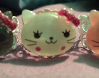 kitty meow adjustable rings