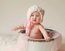 Baby Bonnet - Pretty Twists 'Flowers and Lace' line 6-12 mos size - photo prop - infant hat - knitbysarah - Stitches by Sarah