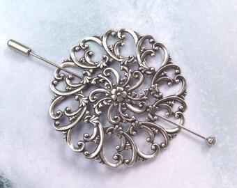 Filigree Shawl Pin, Silver Shawl Pin, silver scarf pin, lapel pin, hair slide, oxidized, stick pin, floral, fall fashion, round