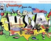 ON SALE Greetings From The USA Vintage Large Letter Postcard Digital Image Download No. 5017