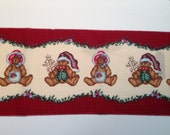 4 Yards Vintage Daisy Kingdom Christmas Teddy Bear Fabric Border  - OOP
