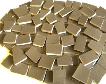 SALE - Chestnut Brown - Solid Color Mosaic Tiles - Recycled Plates - 100 Tiles