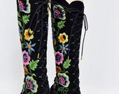 SOLD - Reserved Listing for payment on these boots - Vintage 1960's PeNNy LaNe ALmoSt Famous Embroidered Suede Leather Granny BooTs Size 9