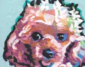 toy poodle colorful art print of pop dog painting bright colors 12x12 Lea