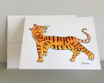 Tiger from the prayer flag - a handpainted card to benefit Nepal