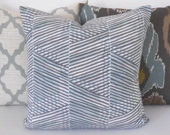 Aqua and brown geometric abstract stripes decorative pillow cover