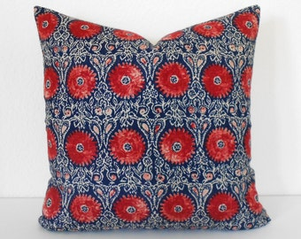 Double sided, Navy and red medallion floral decorative throw pillow cover, indigo suzani pillow cover