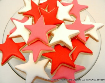 """1.5"""" Mini Stars decorated sugar cookies great for any celebration or as an add on (#2313)"""