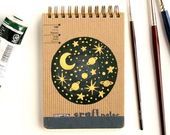 Spiral notebook with hardcover Hand painted with Metallic gold paint Space and stars