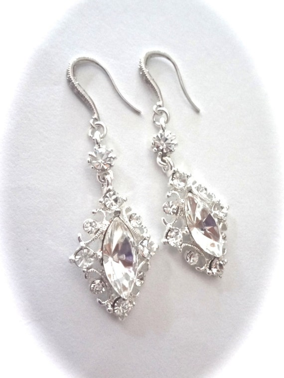 Crystal Rhinestone earrings - Marquise cut - Beautifully detailed - Sterling Silver ear wires - Victorian ~ Vintage style ~ Brides earrings