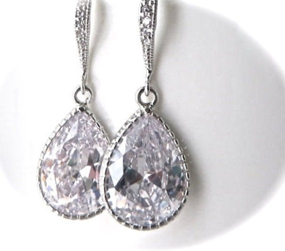Cubic zirconia earrings - Clear - Brides Earrings - Large -Teardrops - Sterling Silver - Bridal Jewelry - formal - prom - Very Sparkly -