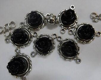 DIY Bracelet Kit. Antique Silver with Black Roses.