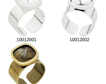 10PCS 12*12mm Adjustable Rounded Corner Ring Bezel Setting fit Swarovski 4461