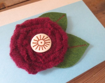 Recycled Wool Flower Brooch Pin Hair Clip Combo
