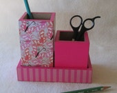 Desk Organizer -Butterflies - Pink - Orange -  Hot Pink -Polka Dot - Medium - Pencil Cup Holder Set