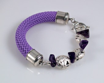 """Silver and Amethysts Cord Bracelet, Lavender, Silver Leaf on Lava, Amethysts, and Lavender Braided Trim Cord, Sterling Toggle Clasp, 7"""""""