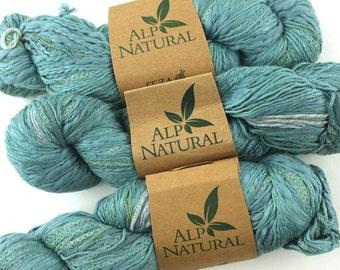 Feza Alp Natural, cotton silk yarn, color 711 Ocean Blue, hand tied novelty knitting yarn