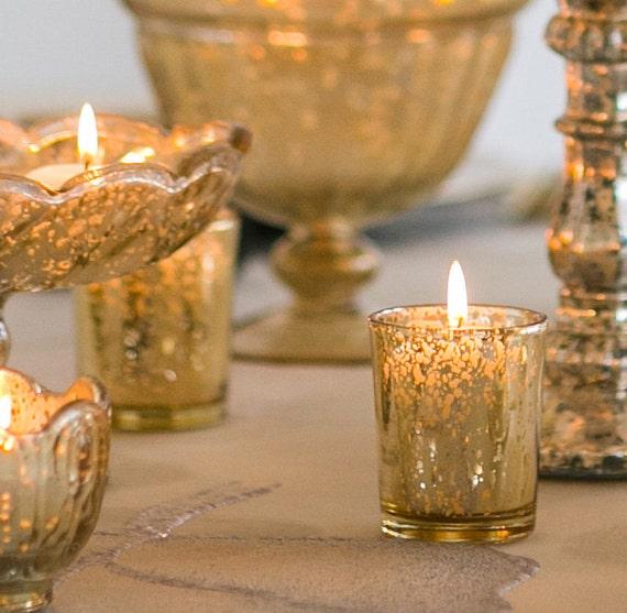 70 gold mercury glass votive holders votive by carolinabludesigns. Black Bedroom Furniture Sets. Home Design Ideas