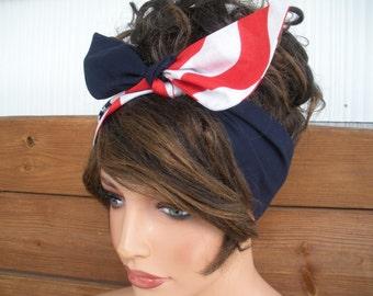 American Flag Headband 4th of July Accessories Women Headband Dolly Bow Headband Head Scarf Navy Blue Bandana