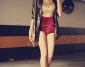 Red silk stretch velvet shorts hot pants