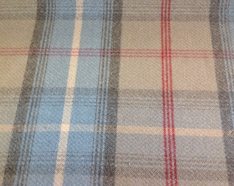 Balmoral wool effect tartan fabric in ocean