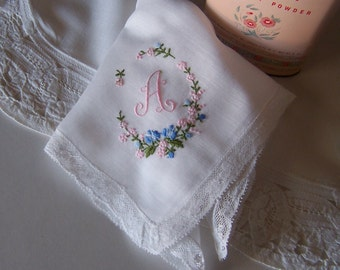 Monogrammed A Bridal Handkerchief with Lace Edge and Pink and Blue Floral Embroidery Bride's Something Old Keepsake