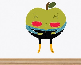 La Pomme (The Apple) Removable Wall Sticker | LSB0181WHT-MMS