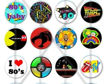 Totally Awesome 80s Pin Back Buttons, 80s Theme Party Buttons, I love the 80s, 80s buttons, 80s party decorations, 80s birthday Buttons