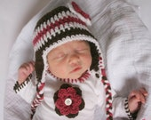 0-3 months Crocheted Photo Prop Girl Dark Pink, Dark Brown, and White 14 in. Hat - IN STOCK