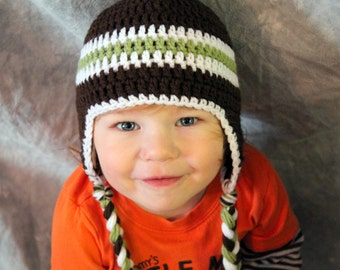12-24 Months Crocheted Photo Prop Green, Dark Brown, and White Boy Hat 17 in. - IN STOCK