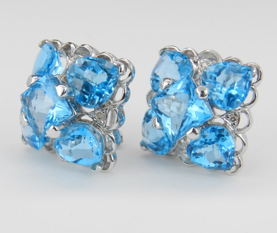 14K White Gold Diamond Princess Cut Heart Shaped Blue Topaz Earrings Omega Clip
