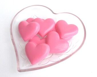 18 Chocolate Heart Favors, Wedding favors, bridal shower favor, Party Favors, Party Candy, Candy Hearts, Chocolate Hearts, pink party favor