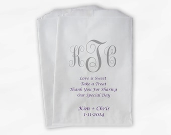 Monogrammed Candy Buffet Bags - Love Is Sweet Grab A Treat Custom Favor Bags Purple Personalized Couple's Initials - Paper Treat Bags (0037)