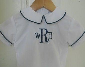 Peter Pan Collar Boys Shirt Monogram- Sizes 3 months-4T Ready to Ship Easter