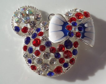 48mm Mickey Mouse Inspired 4th of July, Patriotic Pendant for Chunky bead  Necklace, Silver Rhinestone Pendant