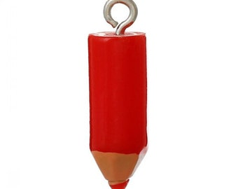 22mm. 4CT. Red Crayon Charm, Resin Charm Pendants Pencil Red 22mm, Colored pencil, (Y23)