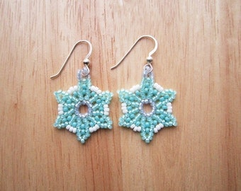 Snowflake Earrings - Huichol Style Mint Green Seed Beaded - Hand Made in USA