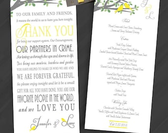Reception, Menu, Thank You, Napkin Inserts. All designs in shop eligible, Printed and Digital orders available