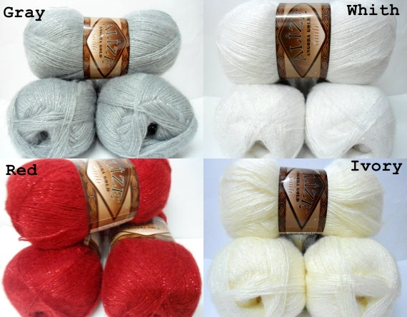 wool, mohair, acrylik, metallic, yarn,  Each skein: 100 gr (CHOOSE COLOR)