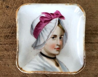 Hand Painted Porcelain Portrait Butter Pats