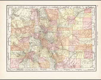 Colorado, Map of Colorado Counties 1911 Antique Colorful Illustration 11x14 State Map (Reverse Side: Full-Page Wyoming Map) # 97-98