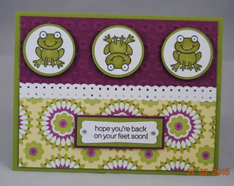 Handcrafted Frog Get Well Card
